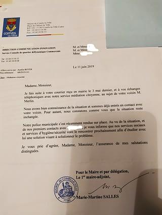 Réponse de la mairie, juin 2019