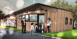 Préfabriqué du centre périscolaire en construction : une image virtuelle...bien vendu