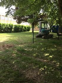 Mise en place du chantier à l'école du chêne